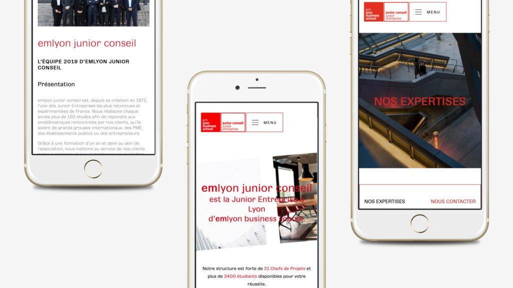 Version mobile du site web de l'em lyon junior consel